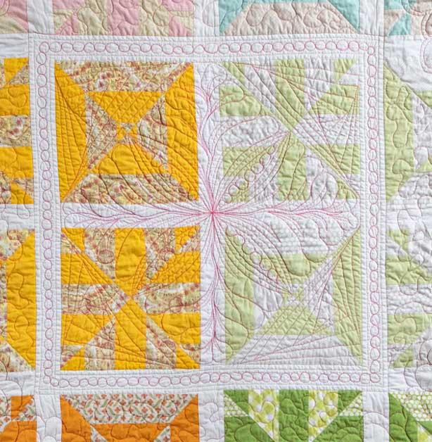 Middenstuk quiltwerk Regenbooquilt - Marlies Mansveld