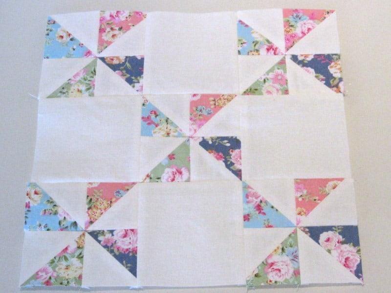 Pinwheel patchworkblok - Marlies Mansveld Quiltinspiratie