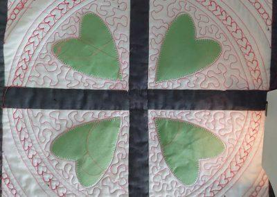 Middenblok hartjes Quilten met linialen - Marlies Mansveld Quiltinspiratie